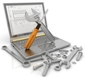 3-D illustration of a notebook with the tools and fasteners of details for repair — Stok fotoğraf