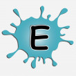 Stock Vector: Letter e in inkblot