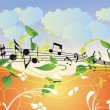 Beautiful vector illustration with music — Stock Vector