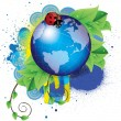 Eco background with a globe and ladybug - Stock Vector