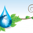 Globe in a drop of water — Stock Vector