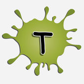 The letter t in the inkblot — Stock Vector