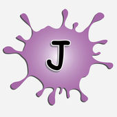 The letter j in the inkblot — Stock Vector