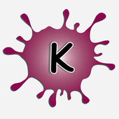 The letter k in the inkblot — Stock Vector