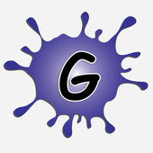 The letter g in the inkblot — Stock Vector