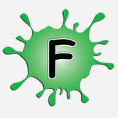 The letter f in the inkblot — Stock Vector