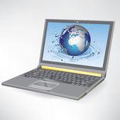 Globe sur l'écran du portable — Vecteur