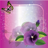 Vector frame with beautiful flowers and butterfly — Stock Vector