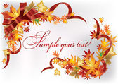 Autumn leaves in the frame with a red ribbon — Stock Vector