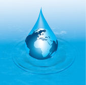 Vector image. earth a drop of water. — Stock Vector