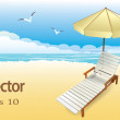 Beach lounger with an umbrella on the beach — Stock Vector