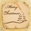 Stock Vector: Pencil writing Christmas greetings