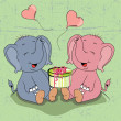 Cartoon elephants with gift - Stock Vector