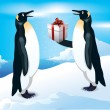Funny penguins. Give gifts at Christmas. — Stock Vector