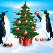 Penguins decorate the Christmas tree — Stock Vector