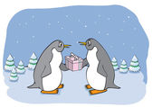 Funny penguin with gift. — Stock Vector
