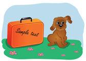 De férias com o meu cão — Vetor de Stock