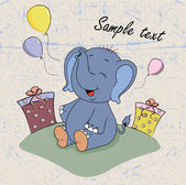 Cartoon elephant baby with gifts — Stock Vector
