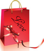 Shopping bag with heart — Stockvector
