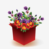 Open box with flowers — Stock Vector