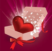 Vector illustration of gift box with hearts — Stock Vector
