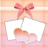 Two hearts with a bow and two postcards on a pink background — Stock Vector