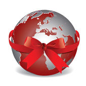 Vector image. Planet Earth with red ribbon. — Stock Vector
