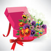 A beautiful box with ribbon and flowers — Cтоковый вектор