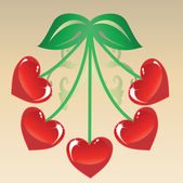 The heart of Cherries — Stock Vector