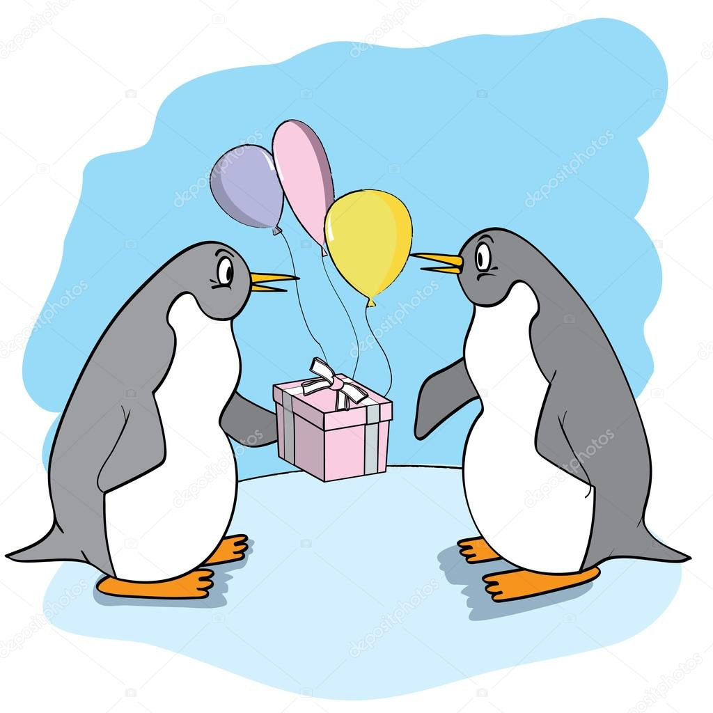 Funny penguin with gift and balloons. — Stock Vector #20801209