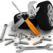 Wheel and Tools. Car service. Isolated 3D image — Stock Photo