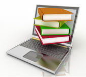 Books from your laptop on a white background — Stock Photo