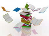 Open books revolve around a stack of books — Stock Photo