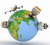 Tipos de transporte em um globo — Foto Stock