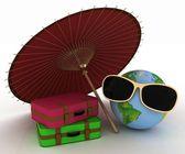 Güneş gözlüklü bir bavul ile 3d dünya ve şemsiye — Stok fotoğraf