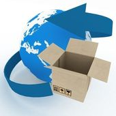 3d cardboard box and globe on white background. — Stok fotoğraf