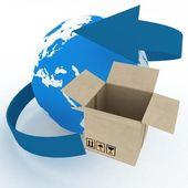 Caja de cartón 3d y globo sobre fondo blanco. — Foto de Stock