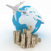 Avión de pasajeros con globo con cajas en blanco. concepto de comercio global de negocios 3d — Foto de Stock