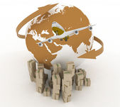 Airliner with globe with boxes on white. 3d global business commerce concept — Stock Photo
