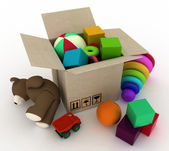 Child's toys are in a box. — Stock Photo