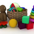 Child's toys are in a basket. - Stock Photo