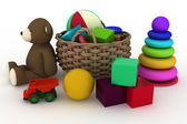 Child's toys are in a basket. — Stock Photo