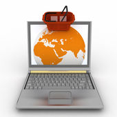 Shopping basket and globe in laptop — Stock Photo