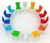 Group of chairs costs round — Stock Photo