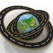 Earth globe and roads around it — Stock Photo