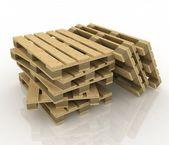 Palettes en bois sur le fond blanc — Photo