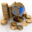 Gold globe with many gold coins and bullions — Stock Photo #23316156