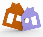 3d model house symbol set — Stock Photo
