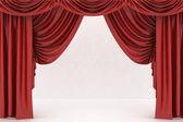 打开红色剧院幕,背景 — 图库照片