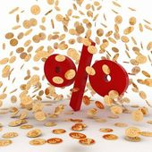 Falling golden coins on percent — Stock Photo